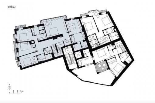Bauzeichnung der Wohnung