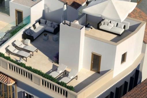 Luxuriöse Maisonette-Wohnung mit 2 Meerblick-Terrassen und Blick auf die Kathedrale in der Altstadt von Palma