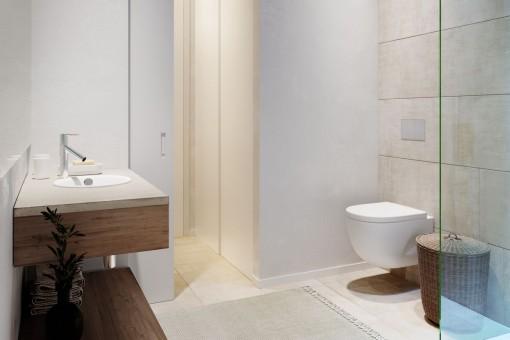 Nobles Badezimmer mit Dusche
