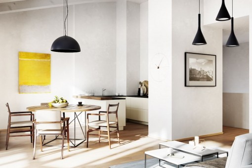 Ansicht der offenen Küche und des Wohnbereichs