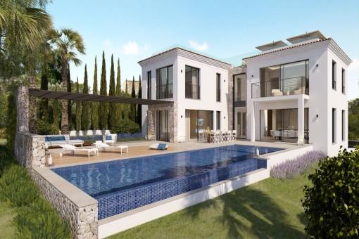 Einzigartige Neubau-Villa mit Meerblick in der begehrten Villenwohngegend von Nova Santa Ponsa