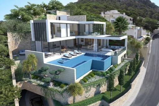 Elegante Designervilla mit fantastischem Meerblick in Cala Llamp