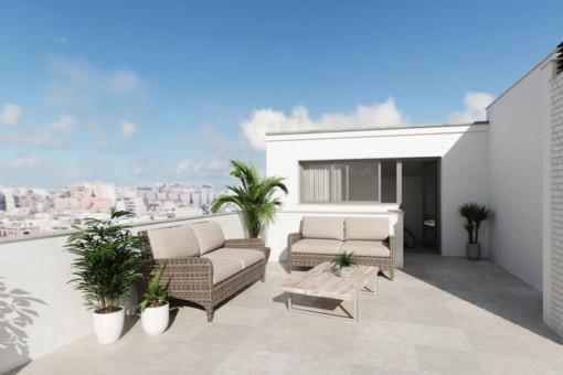 3 SZ Neubau Penthouse mit toller Terrasse in einem schönen Gebäude in zentraler TOP Lage in Palma City