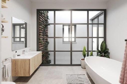 Badezimmer mit einladender Badewanne