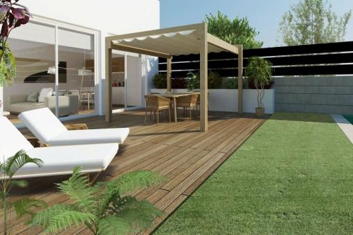 Erdgeschoss-Wohnung in einem Neubaugebäude mit großer Terrasse und privatem Pool in Es Coll d'en Rabassa