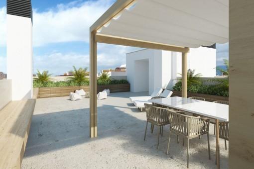 Penthouse mit großer Terrasse in einem Neubaugebäude in Es Coll d'En Rabassa