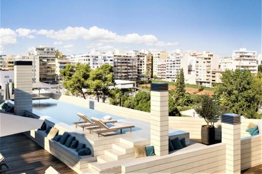 Großer Neubau Wohnkomplex mit Dachterrasse in Palma