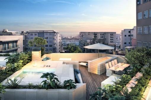 Elegantes City 2 SZ Neubau Penthouse in exzellenter Lage nahe Meer und Stadtzentrum in Palma