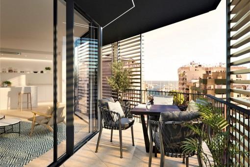 Sitzbereich auf dem Balkon