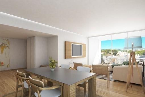 Moderne Wohnung im ersten Stockwerk eines Neubaus in Son Espanyolet