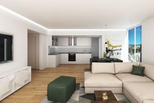 Moderne Neubauwohnung im zweiten Stockwerk mit Meerblick in Son Espanyolet