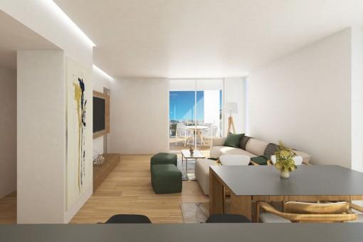 Neubauwohnung im zweiten Stockwerk mit Tiefgaragenstellplatz in Son Espanyolet
