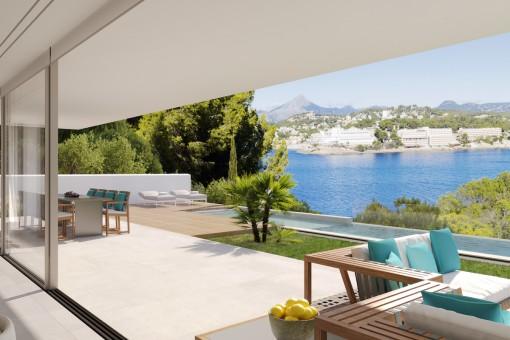 Blick zum Meer vom Balkon