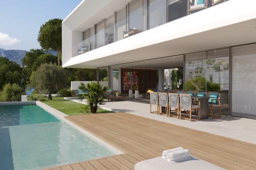 Luxuriöse Neubau Villa mit direktem Zugang zum Hafen von Santa Ponsa