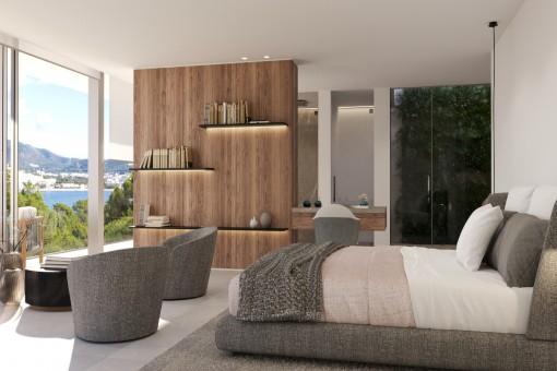 Schlafzimmer mit Badezimmer en Suite und Ankleidezimmer