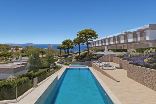 Moderne Neubauvilla in einer exklusiven Wohnanlage mit Pool in Cala Vinyes