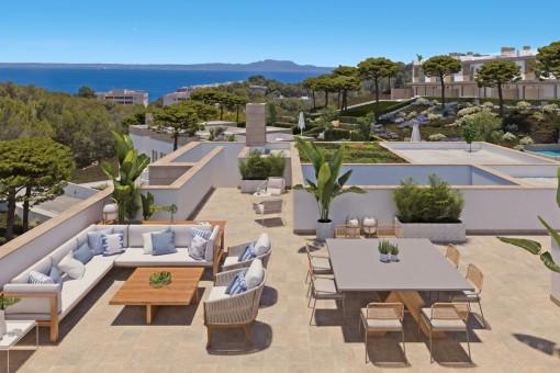 Elegante Villa in exklusiver Wohnanlage mit großem Pool und Terrassen in Cala Vinyes