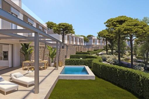 Neubauvilla mit privatem Pool und Garten in exklusiver Wohnanlage in Cala Vinyes