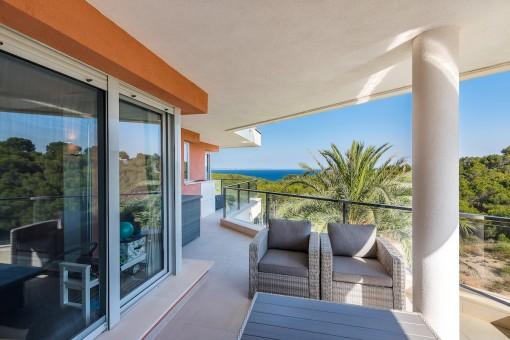 Großzügige Wohnung mit Meerblick und in Strandnähe in Sol de Mallorca