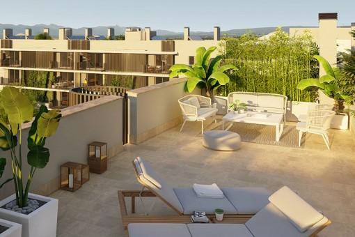 Modernes 2 SZ Neubau Penthouse mit großer privater Dachterrasse mit Westausrichtung in Son Güells, Palma