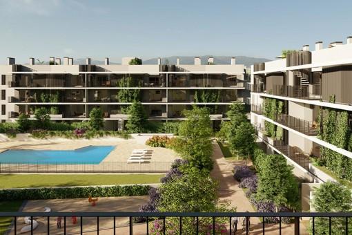 Modernes 2 SZ Neubau Apartment mit großer Terrasse mit Ostausrichtung in Son Güells, Palma