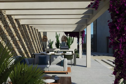 Partiell überdachte Terrasse
