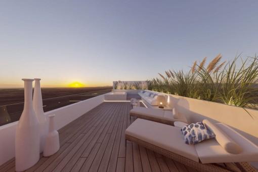Exklusives Neubau-Stadthaus mit klimatisierten Pool und großer Dachterrasse in Santanyí