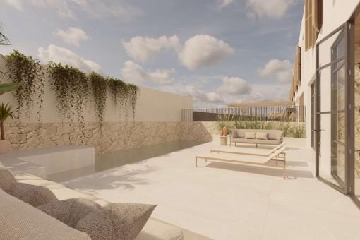 Terrasse mit Chill-Out Bereichen