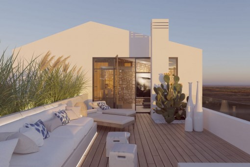 Stilvolles, großzügiges Neubau-Stadthaus mit klimatisierten Pool und Dachterrasse in Santanyí