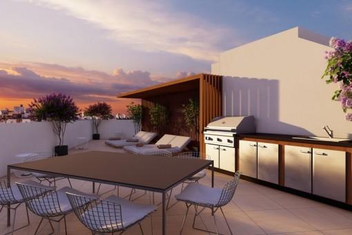 Neubau-Duplex-Penthouse mit avantgardistischen Außenbereichen und nachhaltigen Baumaterialien in Palma
