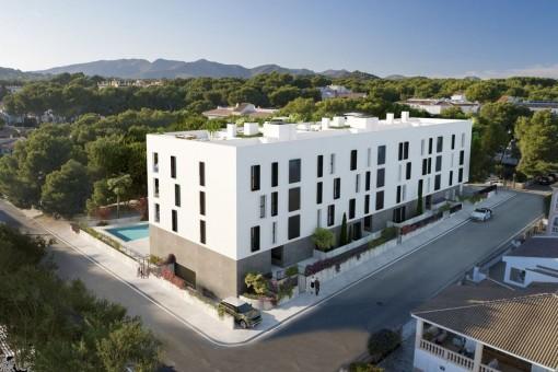 Neubauprojekt für 21 moderne Wohnungen mit der Energieeffizienzklasse A im Zentrum von Cala Ratjada