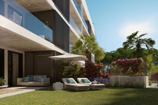 Garten des Erdgeschoss Apartments
