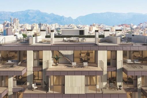 Spektakuläre und luxuriöse Neubau-Wohnanlage mit Terrassen und Swimmingpool in einer begehrten Gegend von Santa Catalina