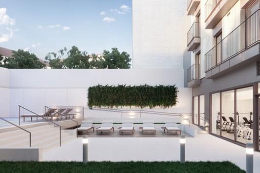Terrassen-, Pool und Fitnessbereich