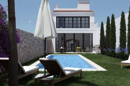 Garten und Poolbereich