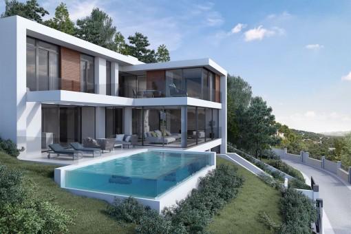 Tolles Baugrundstück mit Projekt und Lizenz in Costa d'en Blanes