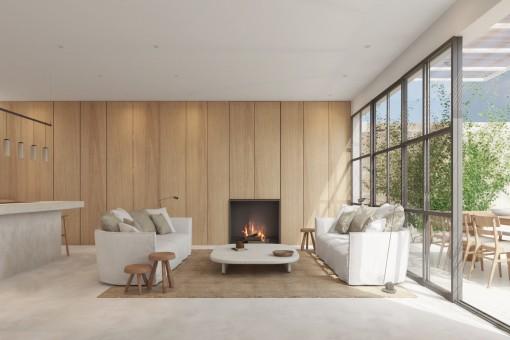 Moderner Wohnbereich mit Kamin