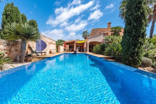 Pool umgeben von mediterranen Pflanzen