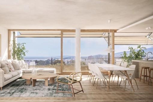 Lichtdurchfluteter Wohnbereich und Balkon mit Meerblick