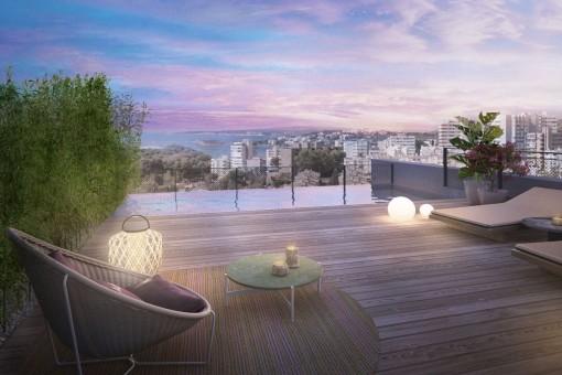 Exklusives, hochwertig erbautes Luxus 2 SZ Duplex-Penthouse mit Meerblick und Pool in Bonanova