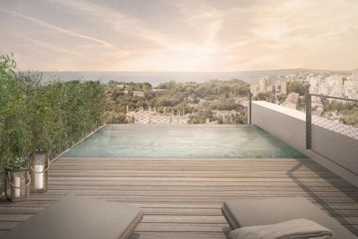 Malerische Dachterrasse mit Pool