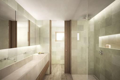 Nobles Badezimmer mit ebenerdiger Dusche