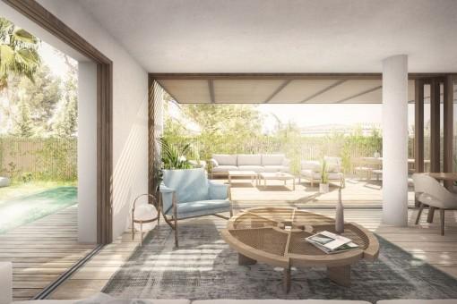Exklusives, hochwertig erbautes Luxus 2 SZ Apartment mit Gartem und Pool in Bonanova