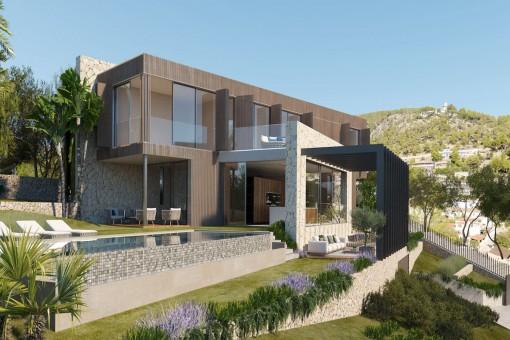 Luxus Neubau Villa mit herrlichem Blick auf die Berge von Genova