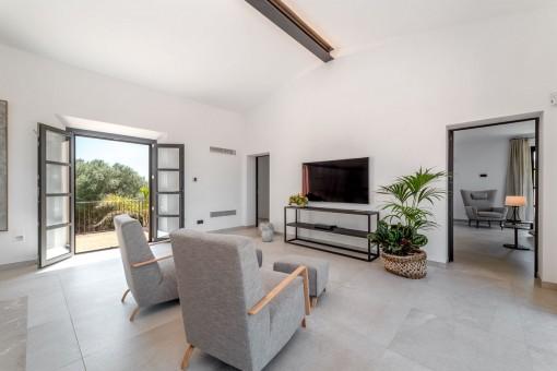 Loungebereich im Obergeschoss