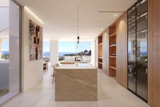 Elegante, hochwertige Küche