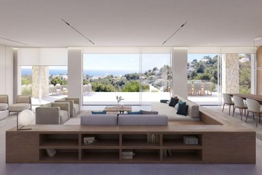 Wohnbereich mit Panorama-Meerblick