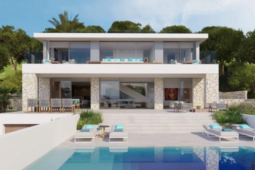 Designervilla im Bau mit spektakulärem Meerblick in Costa d'en Blanes