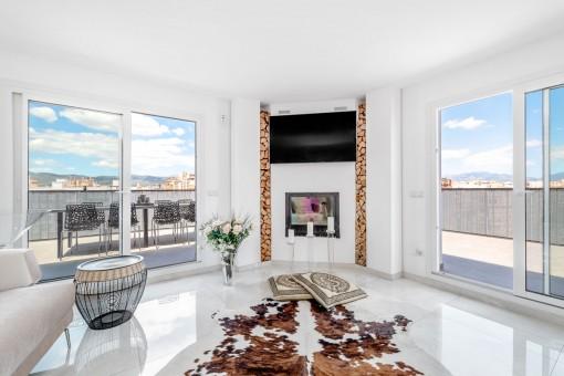 Fantastisches, helles Penthouse mit großer Terrasse und Meerblick in Palma