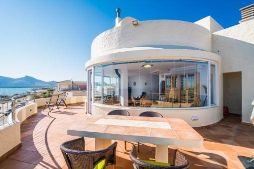 Fantastische Terrasse mit Essbereich